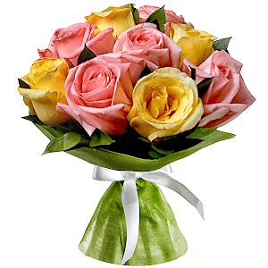 Букет из 9 розовых и желтых роз